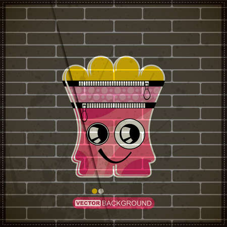 Monster on old brick wall Stock Vector - 20184564
