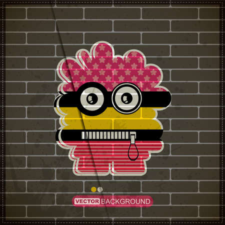 Monster on old brick wall Stock Vector - 20184602