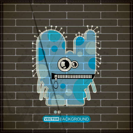 Monster on old brick wall Stock Vector - 20184559