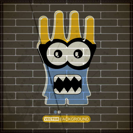 Monster on old brick wall Stock Vector - 20200095