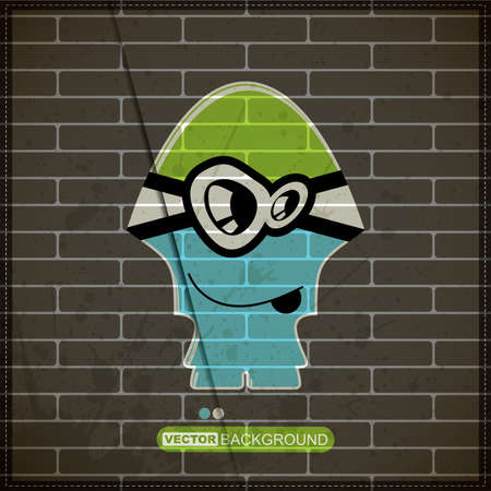 Monster on old brick wall Stock Vector - 20200053