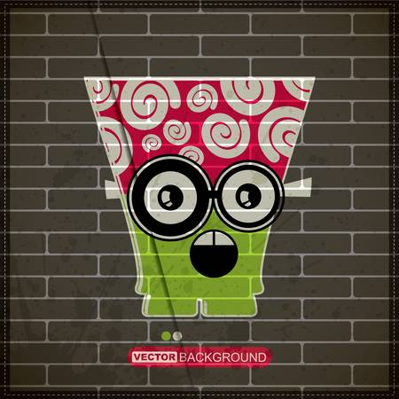 Monster on old brick wall Stock Vector - 20200078