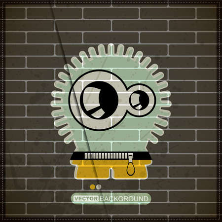 Monster on old brick wall Stock Vector - 20200104