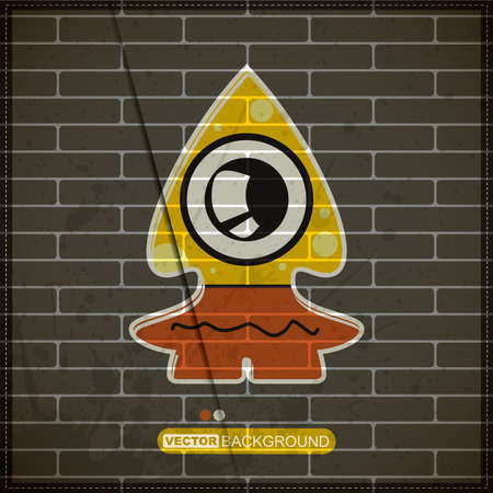 Monster on old brick wall Stock Vector - 20200076