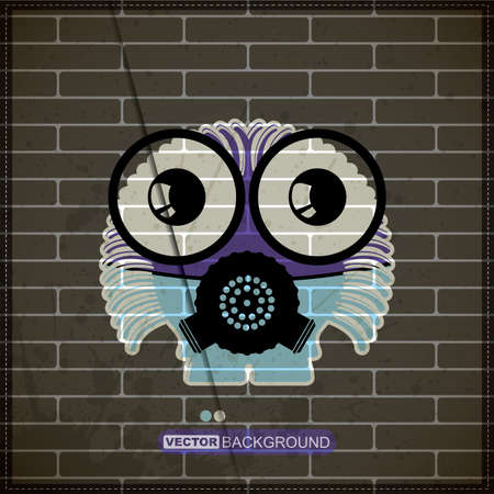 Monster on old brick wall Vector
