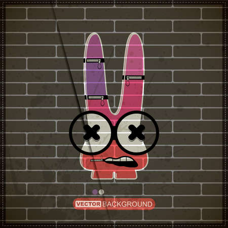 Monster on old brick wall Stock Vector - 20200081