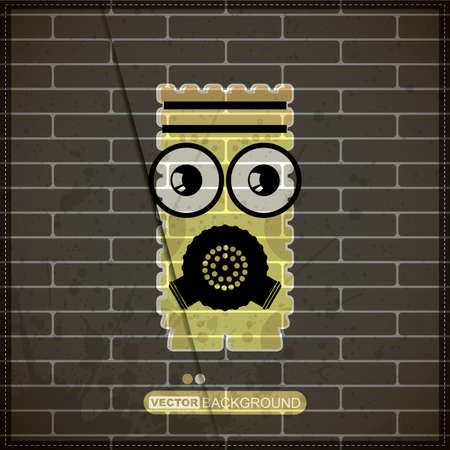 Monster on old brick wall Stock Vector - 20200098