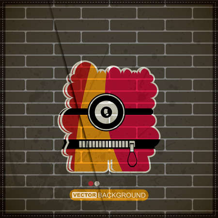 Monster on old brick wall Stock Vector - 20200082