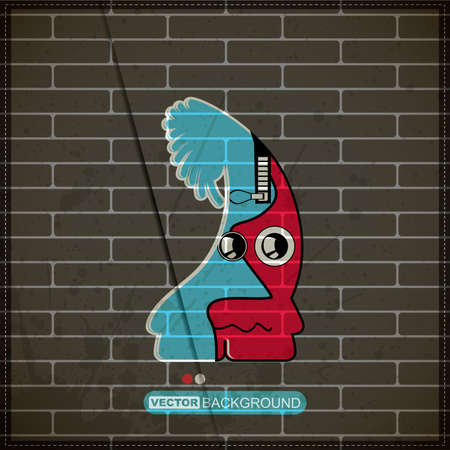Monster on old brick wall Stock Vector - 20200056