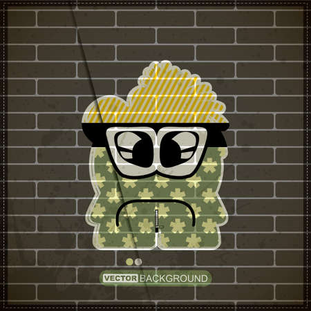 Monster on old brick wall Stock Vector - 20200121