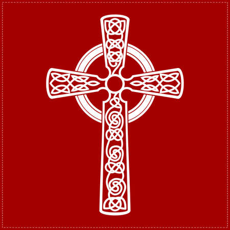 black and white celtic: white cross on red background
