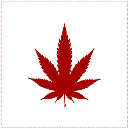 Red cannabis leaf isolated on white Vector
