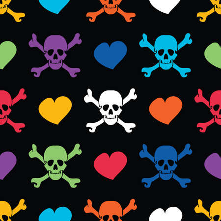 skulls and hearts - seamless pattern Vector