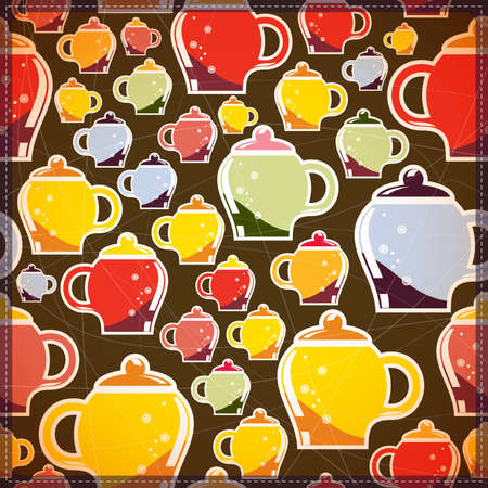 creamer: card with colorful tea cups