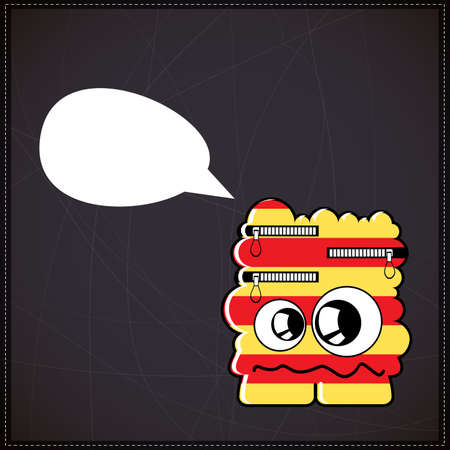Monster with chat bubble Vector