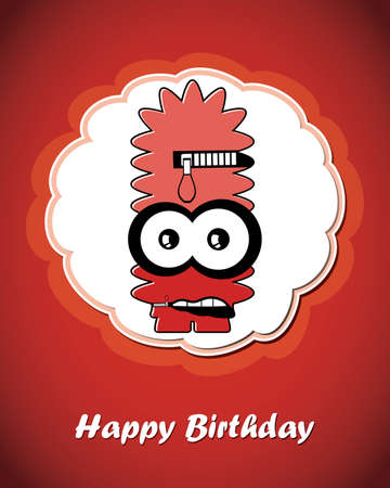 Greeting card with monster Stock Vector - 20208983