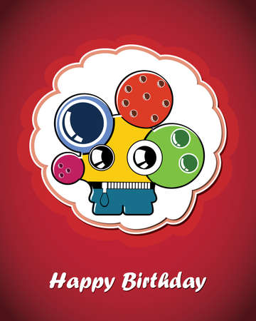 Greeting card with monster Vector