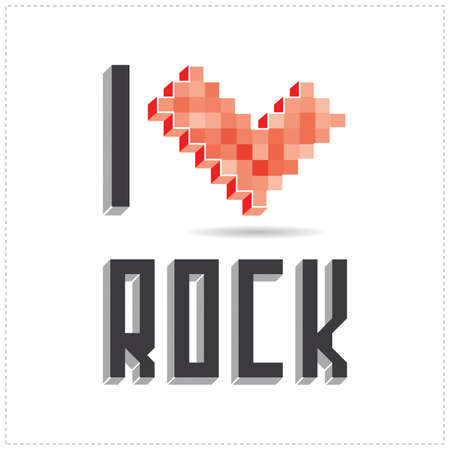Beautiful inscription - I love rock. Vector illustration Vector