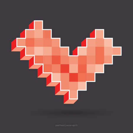Red pixel heart. vector illustration Vector