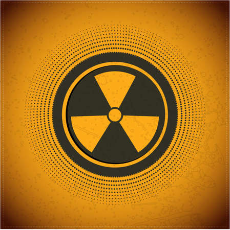Button with radiation symbol Vector
