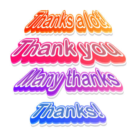 many thanks: Colorful Thank you labels Illustration