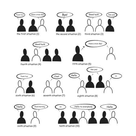 People in different communication situations Vector