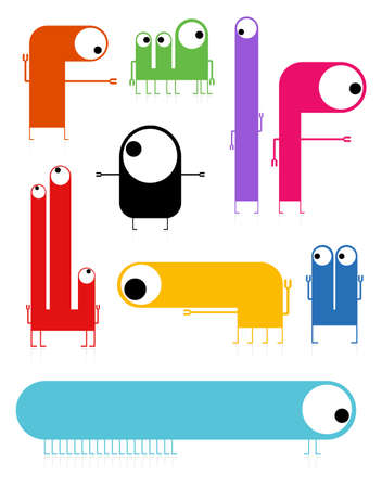 Set of cute monsters isolated on white  vector Stock Vector - 21677014