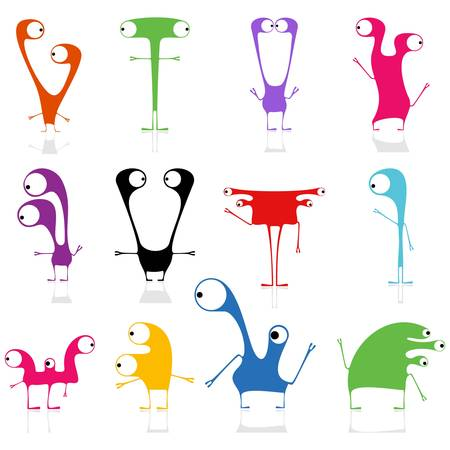 Set of cute monsters isolated on white  vector Stock Vector - 21677015