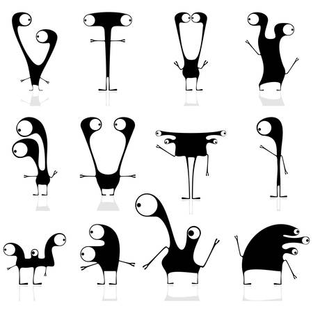 Set of cute black monsters isolated on white  vector Stock Vector - 21677023