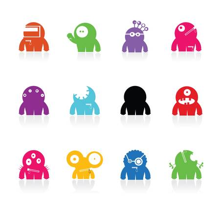 Set of cute monsters isolated on white  vector Stock Vector - 21677117