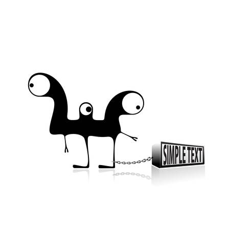 Monster and box with place for text  vector Vector