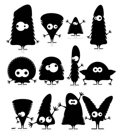 Set of cute black monsters isolated on white  vector Vector