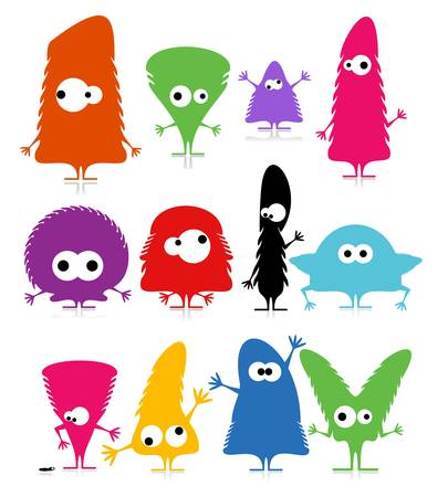 Set of cute monsters isolated on white  vector Vector