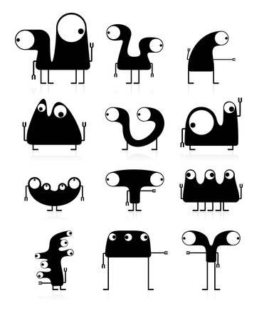Set of cute black monsters isolated on white  vector Stock Vector - 21677427