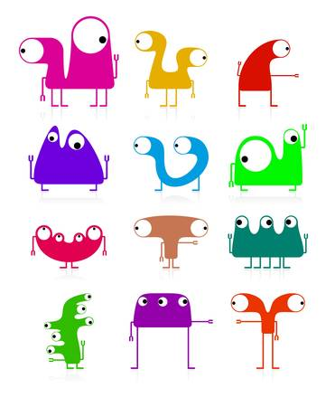 Set of cute monsters isolated on white  vector Stock Vector - 21677428