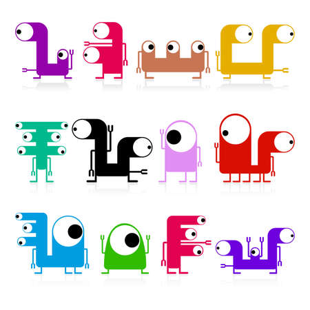 Set of cute monsters isolated on white  vector Stock Vector - 21677429