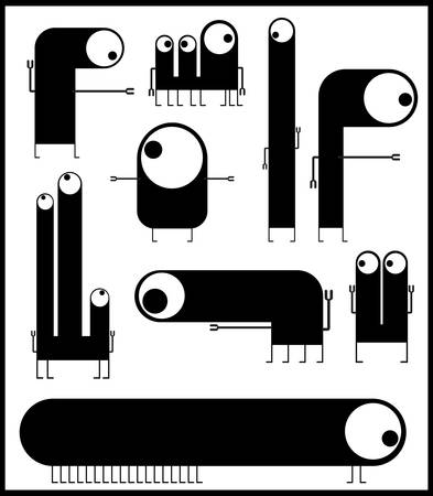 Set of cute black monsters isolated on white  vector Stock Vector - 21677539