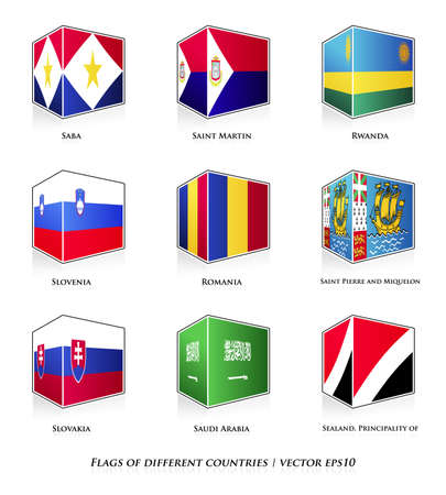 sealand: Flags of different countries isolated on white  Vector set  Illustration