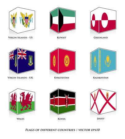 Flags of different countries isolated on white  Vector set Stock Vector - 21677637