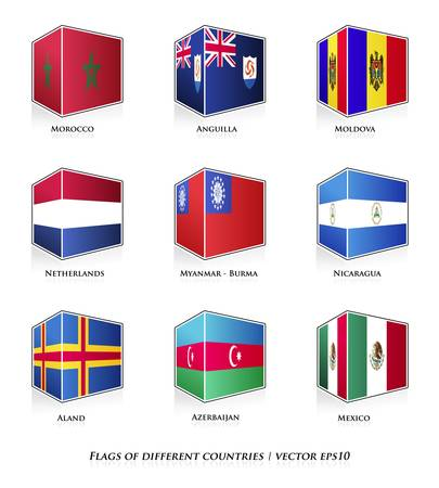 Flags of different countries isolated on white  Vector set  Vector