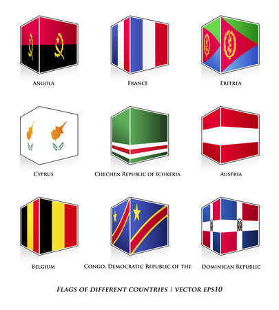 dominican republic: Flags of different countries isolated on white  Vector set  Illustration