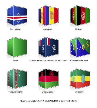 Flags of different countries isolated on white  Vector set  Stock Vector - 21677666