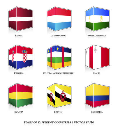 malta cities: Flags of different countries isolated on white  Vector set  Illustration