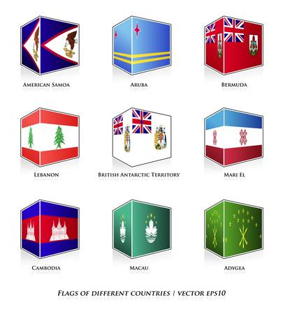 bermuda: Flags of different countries isolated on white  Vector set  Illustration