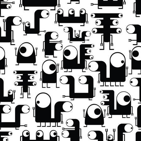 Cute monsters - seamless pattern Vector