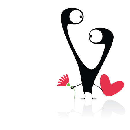 Cute monster with heart and flower Vector