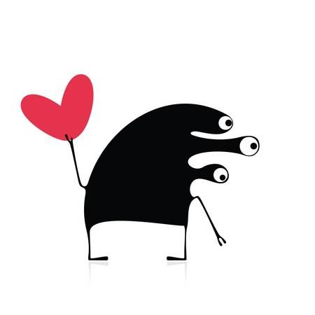 Cute monster with heart Stock Vector - 21869452