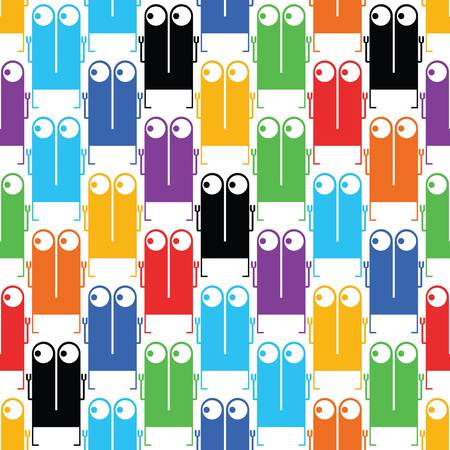 Cute monsters - seamless pattern Vector
