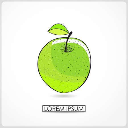 ascorbic: Cartoon apple isolated on white  vector Illustration
