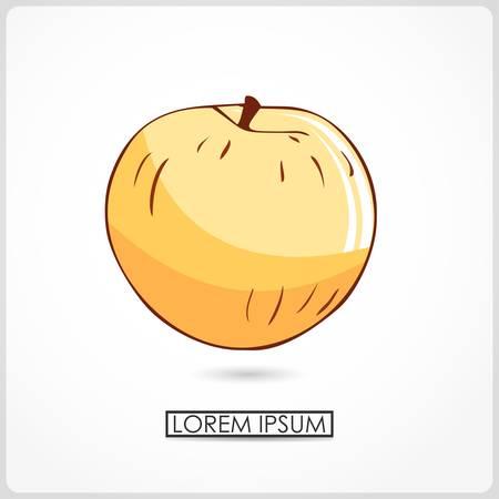ascorbic: Manzana de dibujos animados aislado en blanco vector